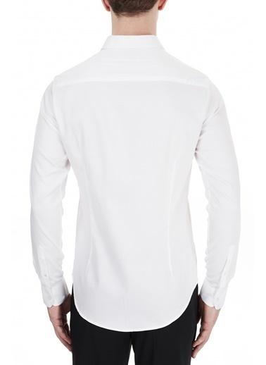 Emporio Armani S 6H1C09 Düz Yaka Uzun Kol Slim Fit Pamuklu Erkek Gömlek Beyaz